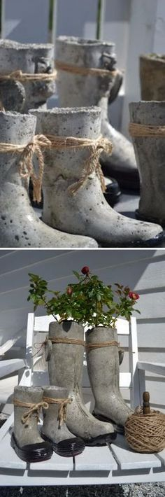DIY Concrete Boots Flower Planter.