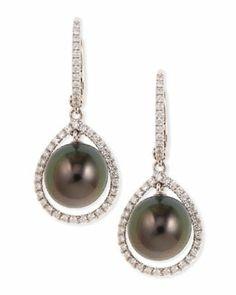 P4413 Eli Jewels 18k Gray South Sea Pearl & Diamond Halo Earrings
