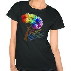 Autism Awareness Rainbow Puzzle Tree with Words
