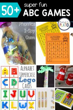 ABC games are fun, early childhood education activities that provide a great hands-on way to teach kids the names and sounds of letters. This roundup of 50 ABC games includes favorite finds from across the web. Whether you're looking for a super active game or you'd like an easy download you can print and play, this list has you covered. Perfect for ages 3-5 #kindergarten #preschool #preschoolactivities #kindergartenactivities F Alphabet, Alphabet Stamps, Abc Games For Kids, Playdough To Plato, Upper And Lowercase Letters, Early Childhood Education, Kindergarten Activities, Phonics, Teaching Kids