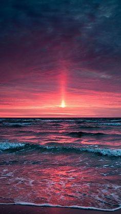 decline_sea_evening_waves_horizon_sky_pink_gray_foam_whisper_coast_beach