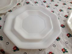 Arcopal Octagonal Novoctine Pattern Milk Glass China France Dinner Set 8 Diinner Plates 8 Salad Plates & Two Retro Arcopal Arcoroc Octime Dinner Plates in Black Made in ...