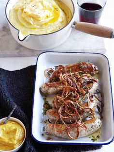 Bangers and mash with crisp onion and hot English mustard.