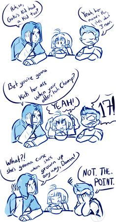 """nerdpatrole: means well XD he still hasn't gotten the hang of not swearing in front of his niece here's more Krillin family stuff because reasons XD """" Lmao, brilliant! We Bare Bears Human, Krillin And 18, Yandere Manga, Dbz Memes, Ball Drawing, Horror Movie Characters, Joker Wallpapers, Fan Service, Cute Dragons"""