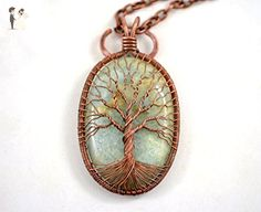 Aquamarine Necklace Tree of life Pendant Wire Wrapped Pendant Copper Jewelry March Birthstone Protection Amulet Healing stones Family Tree HANDMADE - Wedding nacklaces (*Amazon Partner-Link)