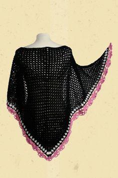 Zwarte omslagdoek met roze rand