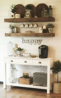 coffee bar with shiplap and rustic shelving New Kitchen, Cool Kitchens, Floating Shelves, Kitchen Remodel, Floating Bookshelves, Updated Kitchen, Kitchen Remodeling