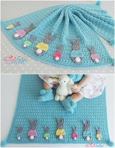 CROCHET BLANKET PATTERN - Bunny Parade Blanket Crochet pattern - Includes Tutorials for Blanket and Two Bunny sizes - Instant Pdf Pattern etsy find affiliate link Crochet Bunny, Crochet Hats, Crochet Blanket Patterns, Crochet Ideas, Yarn Crafts, Baby Knitting, Needlepoint, Kids Rugs, Crafty