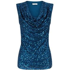Hobbs Efa Sequin Top, Sapphire ($135) ❤ liked on Polyvore featuring tops, draped sleeveless top, sequin sleeveless top, sequin top, drapey top and evening tops