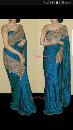 Blooming Blue Color Two tone Paper silk embroidery work lace border Designer Saree with Embroidery work Blouse. The Blouse can be customized up to bust size The Unstitch Saree Length Mtr Including Mtr Blouse. Simple Sarees, Trendy Sarees, Fancy Sarees, Party Wear Sarees, Stylish Sarees, Saree Blouse Patterns, Saree Blouse Designs, Salwar Neck Designs, Indian Dresses