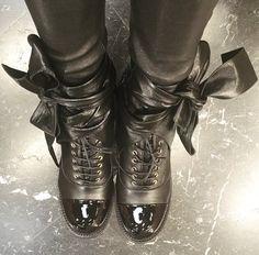 ** 2016 NIB CHANEL Ankle Wrap Around Leather, Kangaroo Bow Boots Black Leather: @upcloseandstylish **