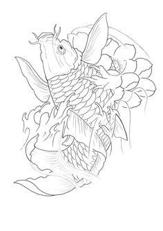 nice ART Body - Tattoo's - line work koi. Tattoo Japanese Style, Japanese Tattoo Designs, Japanese Sleeve Tattoos, C Tattoo, Tattoo Shows, Body Tattoos, Koi Fish Drawing, Fish Drawings, Japanese Patterns