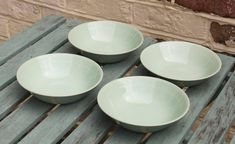 Set of 4 Small Bowls in Beryl Green by Wood's Ware Beryl Green Utility Ware Vintage Post War Kitchenware. Kitchenware, Tableware, Candy Colors, Shades Of Green, 1940s, Bowls, British, Pottery, Colours