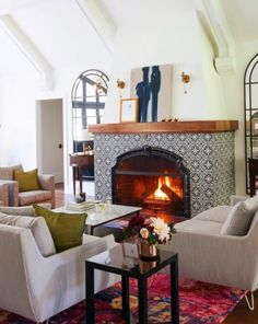 Spanish-Inspired Cement and Patterned Tile Round Up! – Juniper Home – Fireplace tile ideas Cottage Fireplace, Fireplace Remodel, Fireplace Mantle, Fireplace Surrounds, Fireplace Design, Tiled Fireplace, Fireplace Ideas, Fireplace Decorations, My Living Room