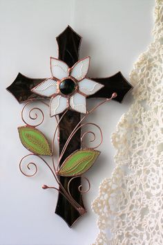 Brown stained glass cross with a flower Anniversary gift for