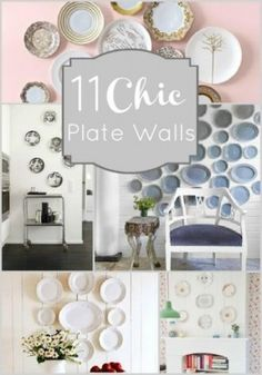 Plate walls are fabulous! They can be tailored to fit any style, and are ideal for large blank wall spaces that can be difficult to fill. Display an unused collection of china, or rotate seasonal and holiday plates to keep your home feeling fresh! I just
