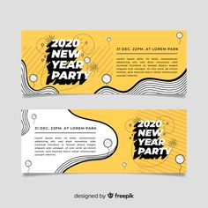Flat design of new year 2020 party banners Free Vector Web Design, Flat Design, Web Banner Design, Layout Design, Disney Cartoons, What Is Fashion Designing, Banner Design Inspiration, Design Plano, Party Banners