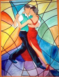 tango - Pintura,  60x81 cm ©2007 por sandra soler -            figuras humanas bailando tango