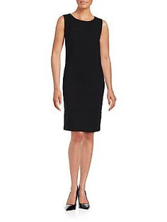 Lafayette 148 New York Sleeveless Virgin Wool Sheath Dress - Black - S