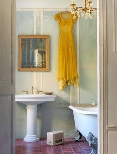 greige: interior design ideas and inspiration for the transitional home : Bits of Yellow...dress, wall color, bathroom