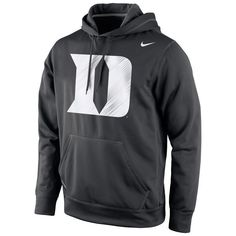 Duke Blue Devils Nike Warp Logo Therma-FIT Hoodie Black ($70) ❤ liked on Polyvore featuring tops, hoodies, nike tops, blue hoodie, black hooded sweatshirt, hooded pullover and nike