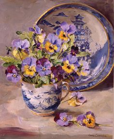 Pansies with Willow-Pattern-Plate