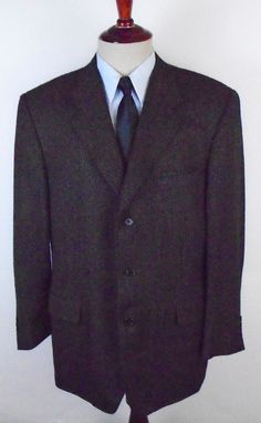 Canali Barcelino Blazer Sport Coat size 44R made Italy Ventless 3 Btn 100% Wool #Canali #ThreeButton