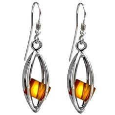 Millennium Collection Sterling Silver Marquise Earrings Certified Genuine Amber Cubes