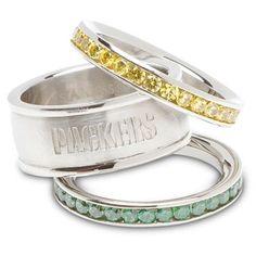 @Fanatics #FanaticsWishList Logo Art Green Bay Packers Ladies Spirit Crystal Stacked Ring Set <3