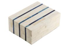 "8"" Double Stripe Bone Tile Box, Ivory"