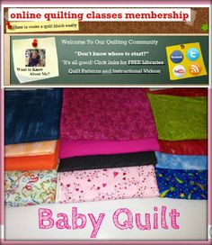 Quilt Block Patterns, Pattern Blocks, Quilt Blocks, Quilting Classes, Free Library, Baby Quilts, Kit, Learning, Create