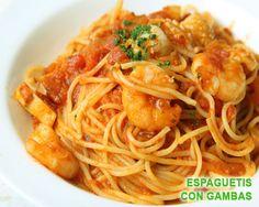 Espaguetis con gambas y atún