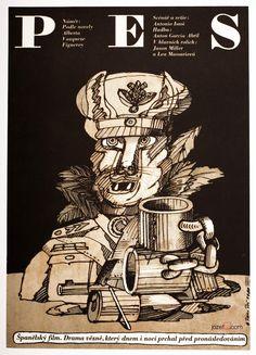 Illustrated movie poster designed by Petr Poš for a Spanish film The Dog, 1980. #MoviePoster #Illustration #VintagePoster #PosterShop