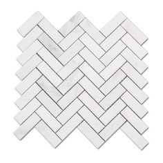 Carrara (Carrera) White Marble 1x3 Herringbone Mosaic Tile Sample ❤ liked on Polyvore featuring home and home improvement