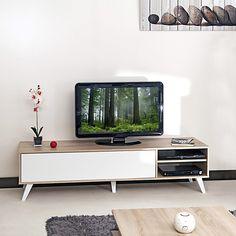 Meuble TV style scandinave coloris chêne/blanc L165cm - Sopra - Meubles télé-Meubles, Accessoires TV-Salon, Salle à manger-Par pièce - Décoration intérieur - Alinea