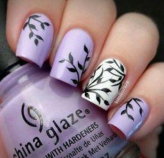 Pretty lavender #chinaglaze #nailart #leaves #kimiko7878