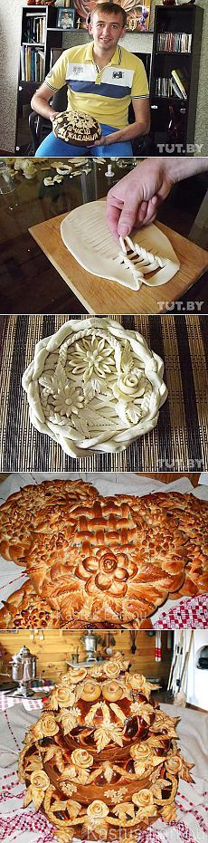 Secrets of beautiful pastries. Technique of weaving. Ukrainian Recipes, Russian Recipes, Festive Bread, Bread Recipes, Cooking Recipes, Bread Shaping, Bread Art, Bread And Pastries, Food Decoration