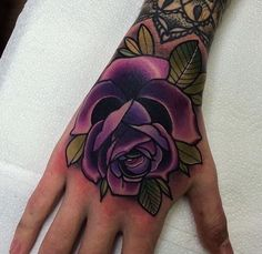 Purple rose tattoo