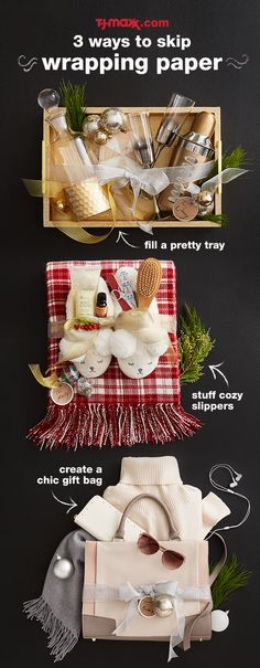 Shop this easy gift idea at tjmaxx.com. Skip the wrapping paper and fill a chic tray, cozy slippers or sleek handbag with great gifts at amazing prices.