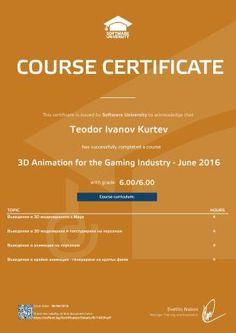 Sample course certificate