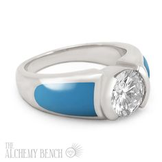"""""""Moonlit Lake - Fortune"""" Diamond and Turquoise Inlay Engagement Ring in White Gold. 