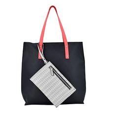 008cca815e ESA Women s Top Handle Bag Vegan Leather Satchel Color block Tote Fashion  Shopper with Detachable Card Coin Purse (Black Mix)