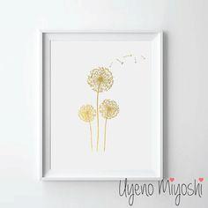 Dandelion Gold Foil Print Gold Print Custom Print by UyenoMiyoshi