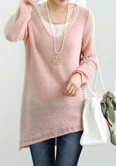 Thinking Pink for SPRING ! Pink Plain Irregular V-neck Long Sleeve Wool Sweatershirt #soft_pink #sweater #fashion