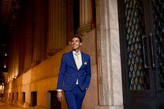 Κοστούμι νεανικό στενή γραμμή μπλε ηλεκτρίκ κωδ:1393 - Γαμπριάτικα κοστούμια ΘεσσαλονίκηΓαμπριάτικα κοστούμια Θεσσαλονίκη Double Breasted Suit, Suit Jacket, Suits, Jackets, Style, Fashion, Down Jackets, Swag, Moda