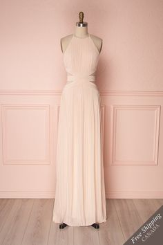 Akillay Pale Pink Halter Cut-Outs Draped Empire Gown Sequin Dress, Pink Dress, New Dress, Dress Up, Bridesmaid Dresses, Prom Dresses, Formal Dresses, Halter Gown, Online Fashion Boutique