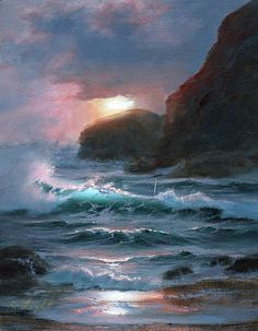 Sunset Pacific Surf - Oil, in Seascape Paintings at Sunset Fantasy Landscape, Landscape Art, Landscape Paintings, Ocean Art, Ocean Waves, Ocean Pictures, Ocean Wallpaper, Ocean Scenes, Water Art