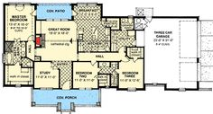 Single Level French Country House Plan - 48501FM | 1st Floor Master Suite…