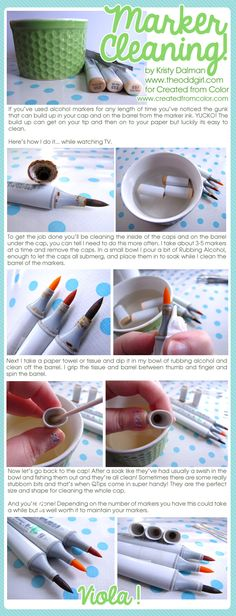 Cleaning Your Alcohol Markers on Created from Color by Kristy Dalman (www.createdfromcolor.com) #copic #tutorial