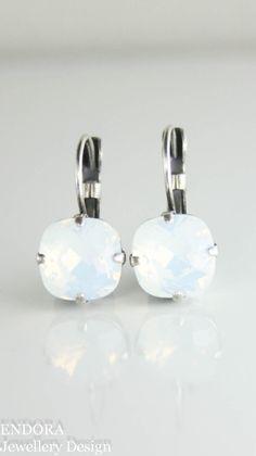 Swarovski white opal 10mm square crystal leverback earrings | white opal earrings | white bridesmaid earrings | www.endorajewellery.etsy.com